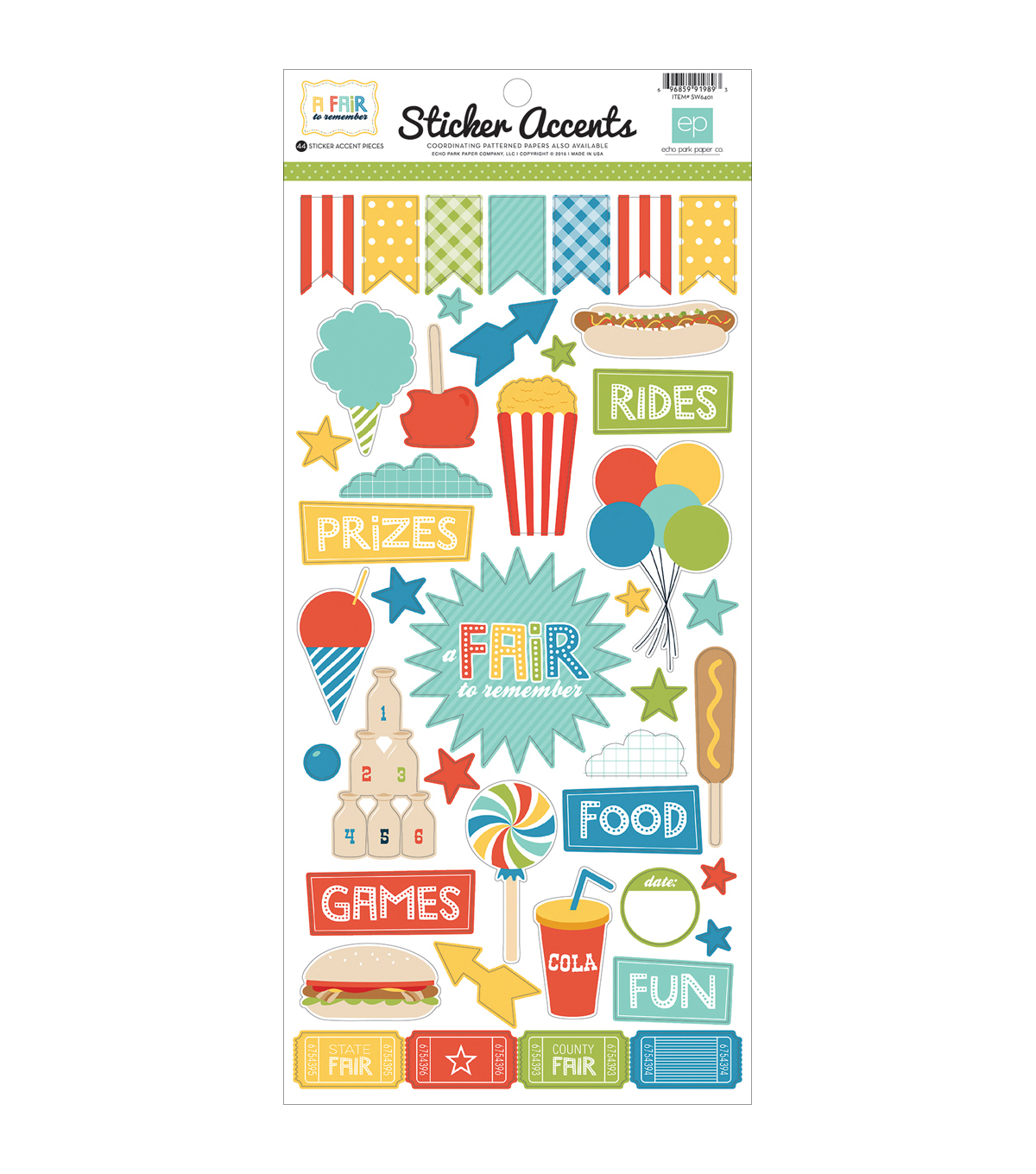 "Echo Park Paper Company™ A Fair To Remember Stickers 6""x12"""