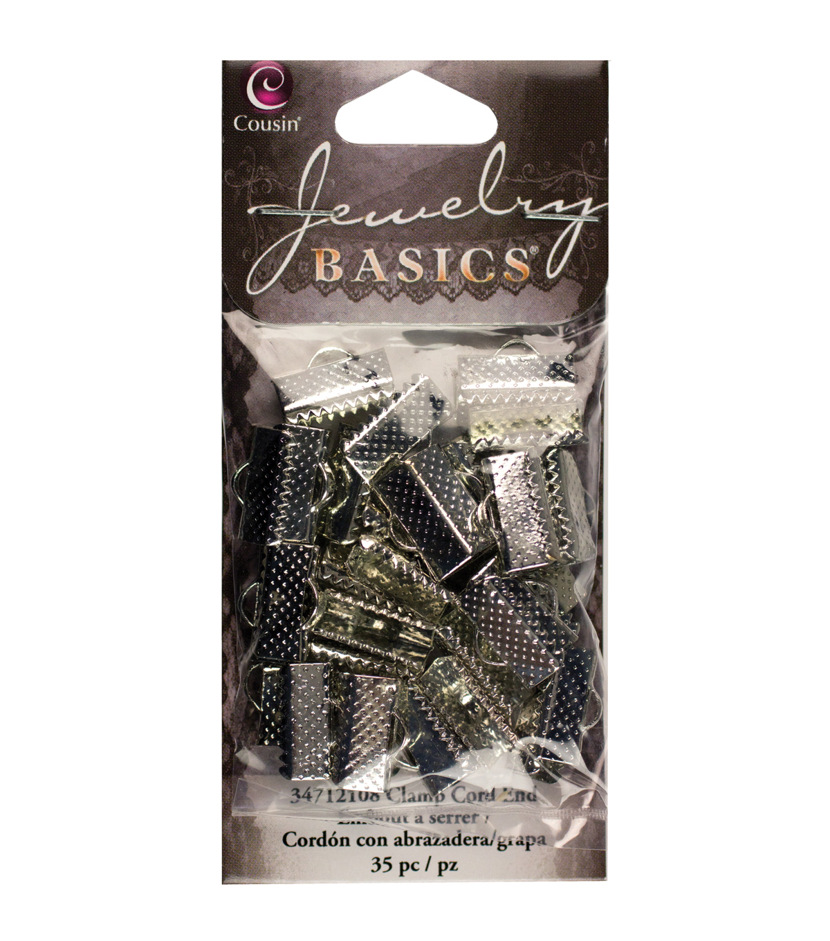Jewelry Basics Metal Findings-Silver Large Clamp End 35/Pkg