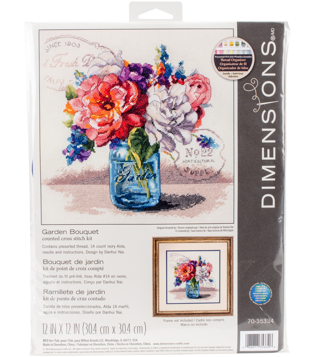 Garden Bouquet Counted Cross Stitch Kit 14 Count