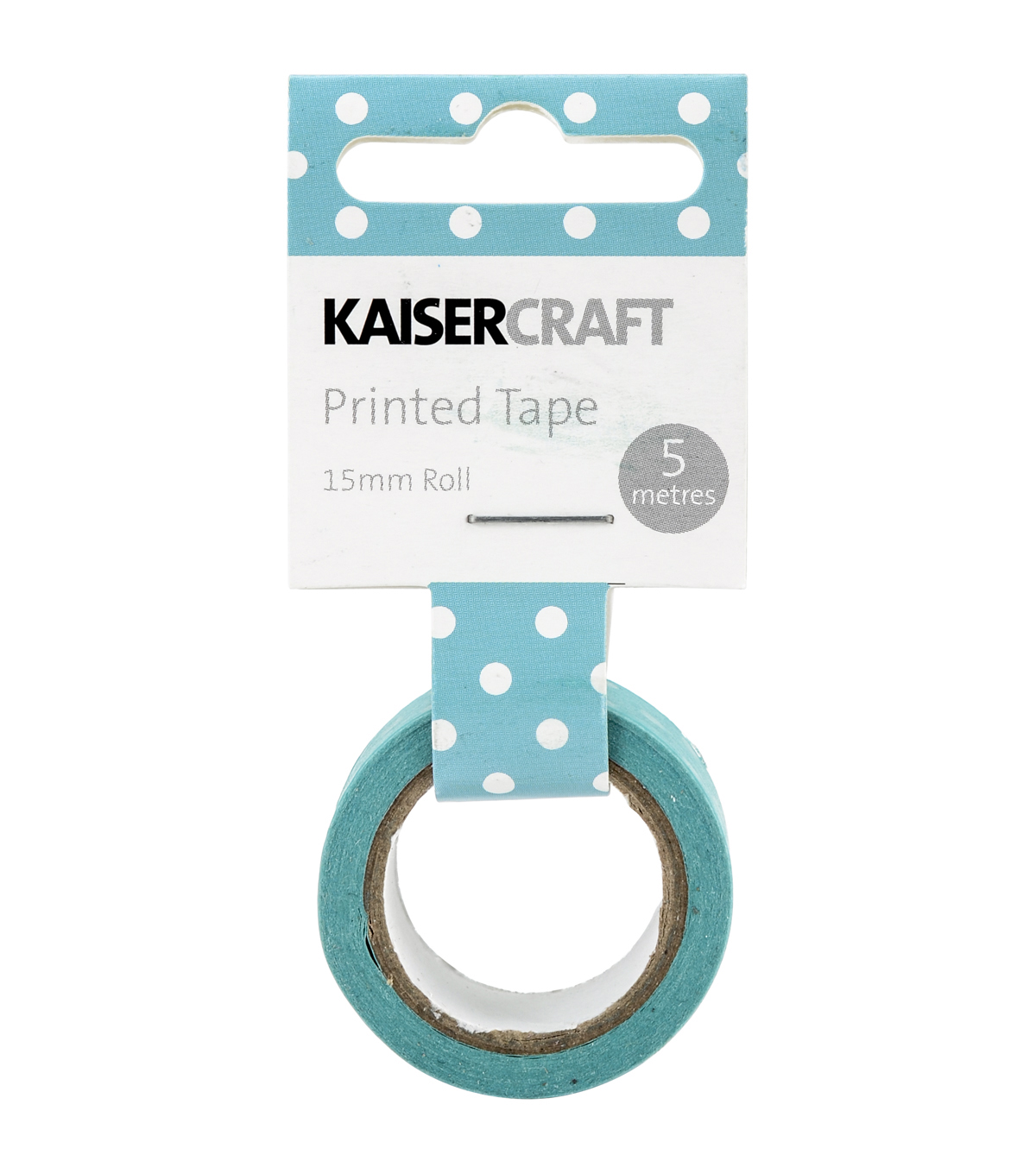 Kaisercraft Printed Tape .5\u0027\u0027x16.5\u0027-Peacock Polka Dot