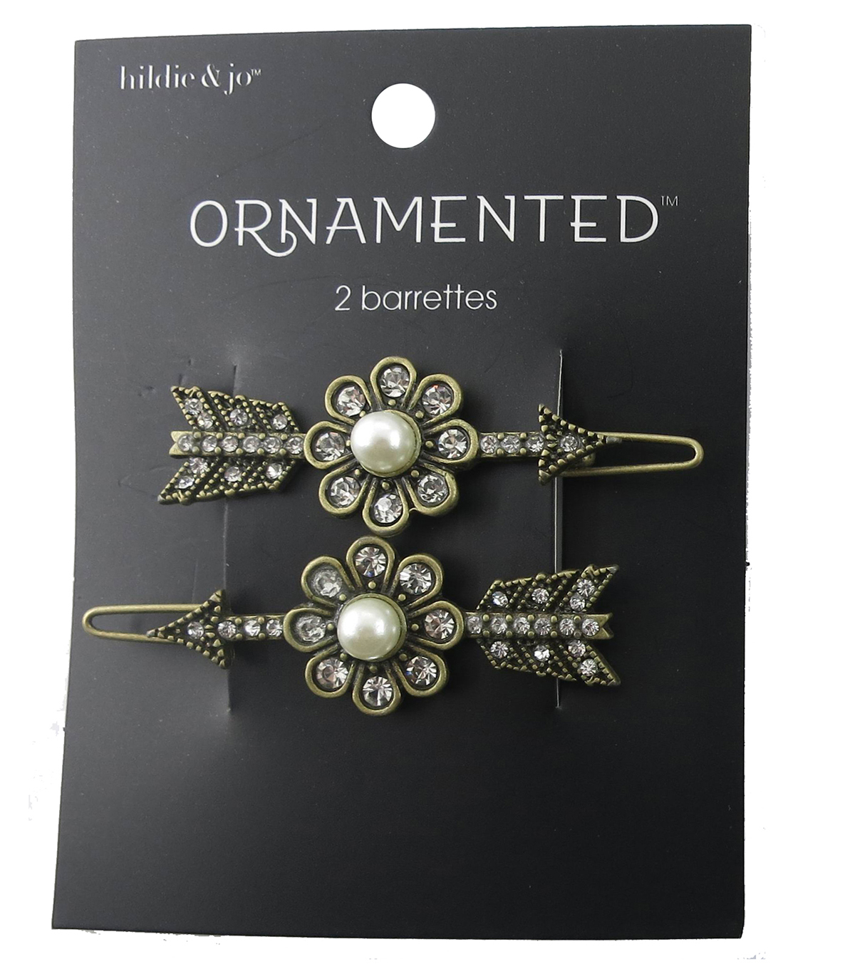 hildie & jo™ 2 Pack Arrow Antique Gold Barrettes-Pearl & Crystals