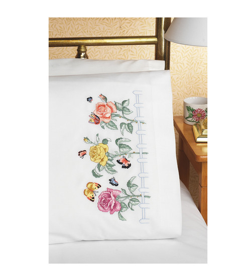 Janlynn Rose Garden Pillowcase Pair Stamped Embroidery-20\u0022X30\u0022