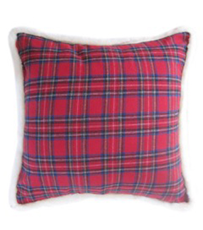 Maker's Holiday Red Plaid Pillow With Fur Trim