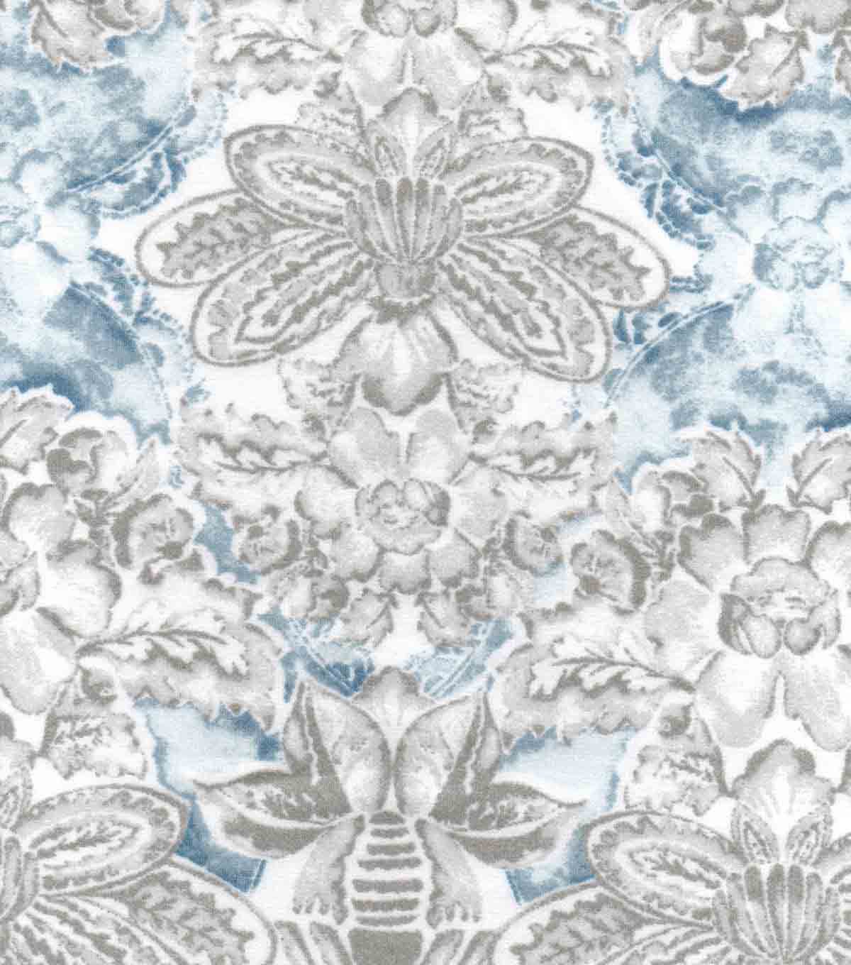 Luxe Flannel Fabric 42\u0022-Gray Blue Floral