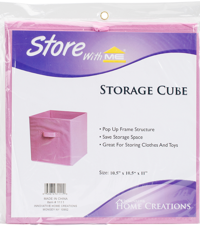 Square Fabric Storage Cube 10.5\u0022X10.5\u0022X11\u0022 Pink