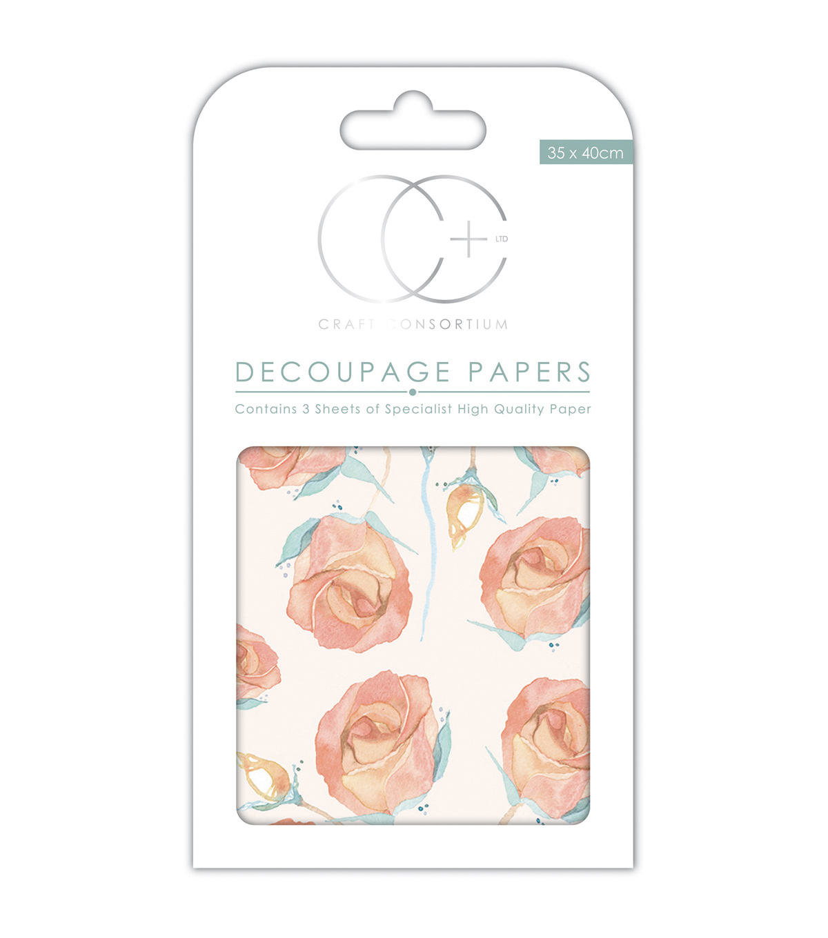 Craft Consortium 3pcs 13.75\u0027\u0027x15.75\u0027\u0027 Decoupage Papers-English Rose