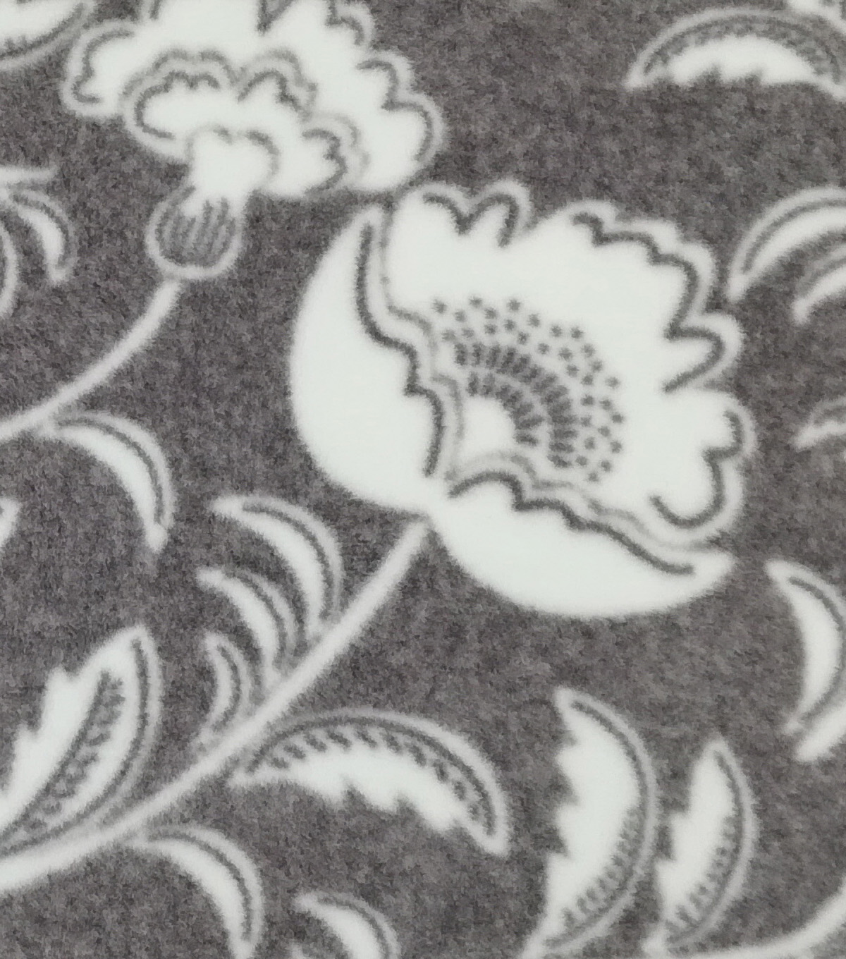 Speciality Fleece Fabric 59\u0022-Gray White Flowers