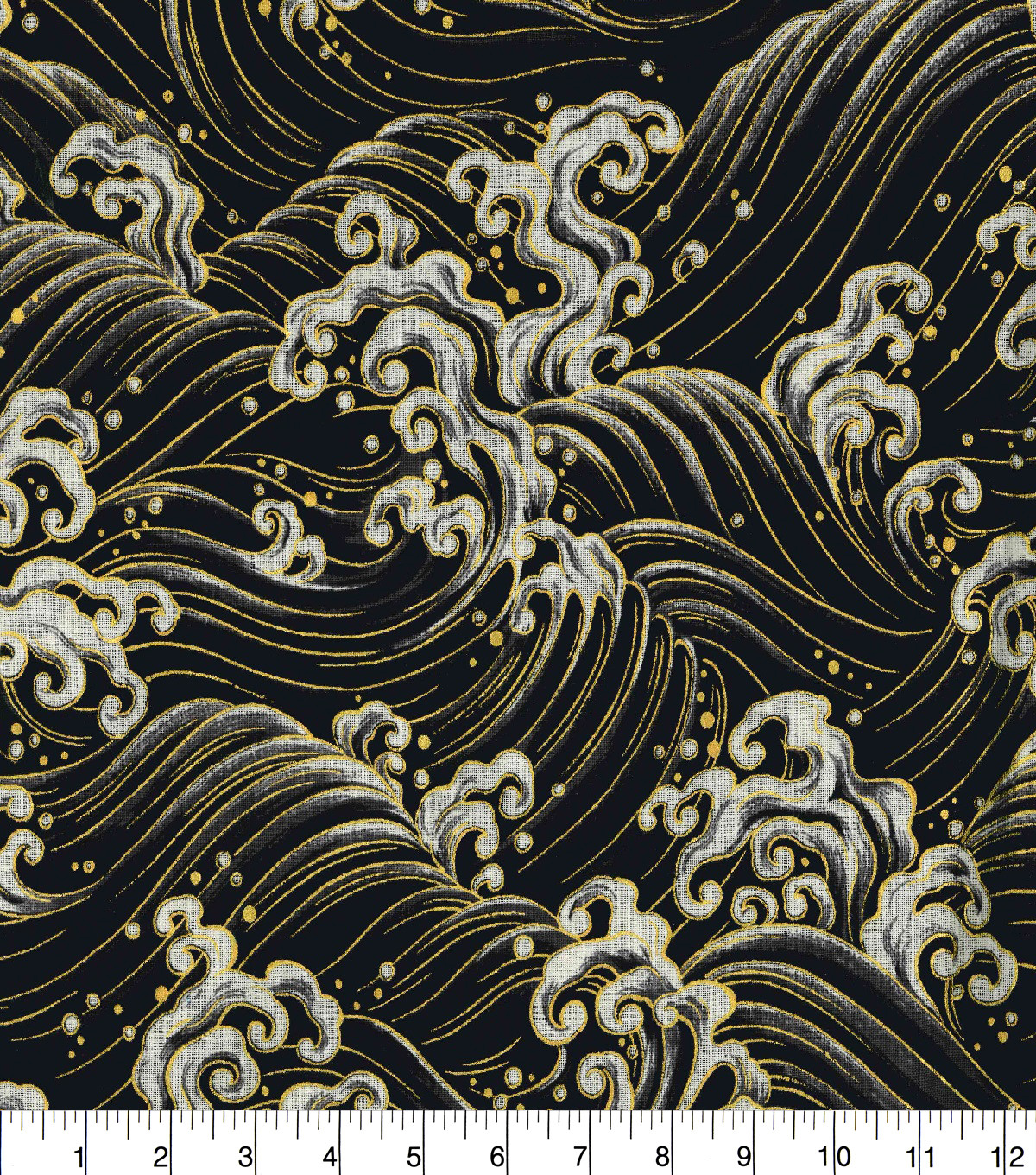 "Asian Inspired Cotton Fabric 43""-Rolling Waves Black Metallic"
