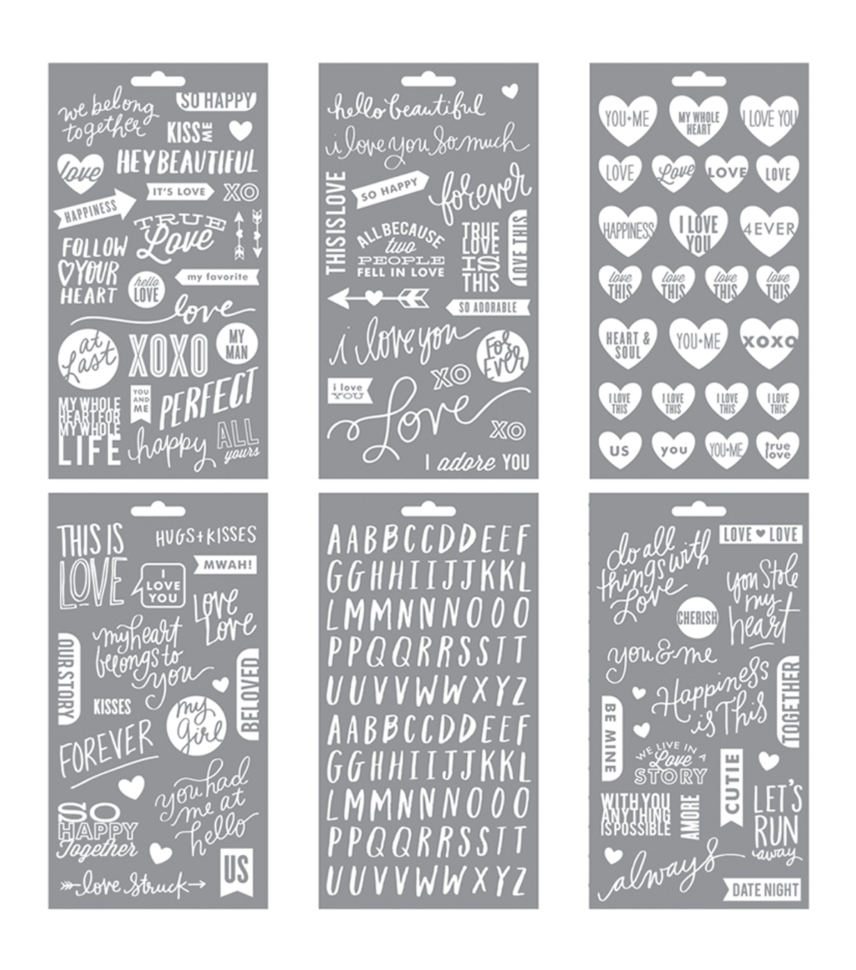 Me & My Big Ideas Pocket Pages Clear Stickers 6 Sheets/Pkg-True Love