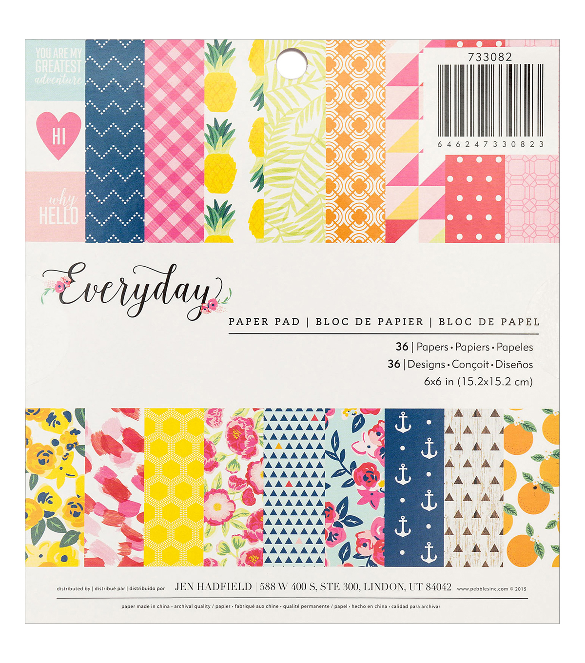 Pebbles Jen Hadfield Everyday 36 Pack 6\u0027\u0027x6\u0027\u0027 Single-Sided Paper Pad