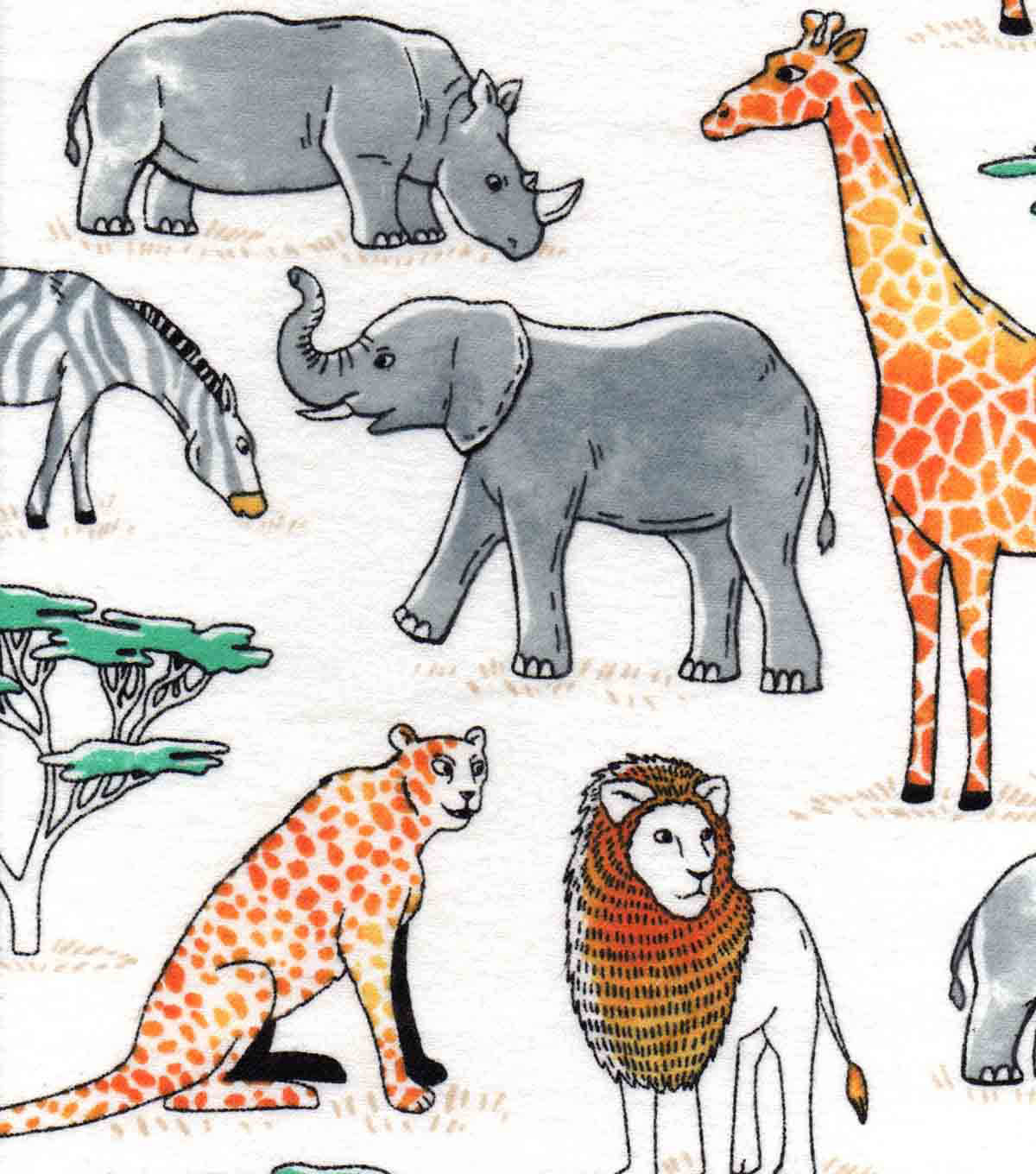 Snuggle Flannel Fabric 42\u0022-Watercolor Jungle Animals