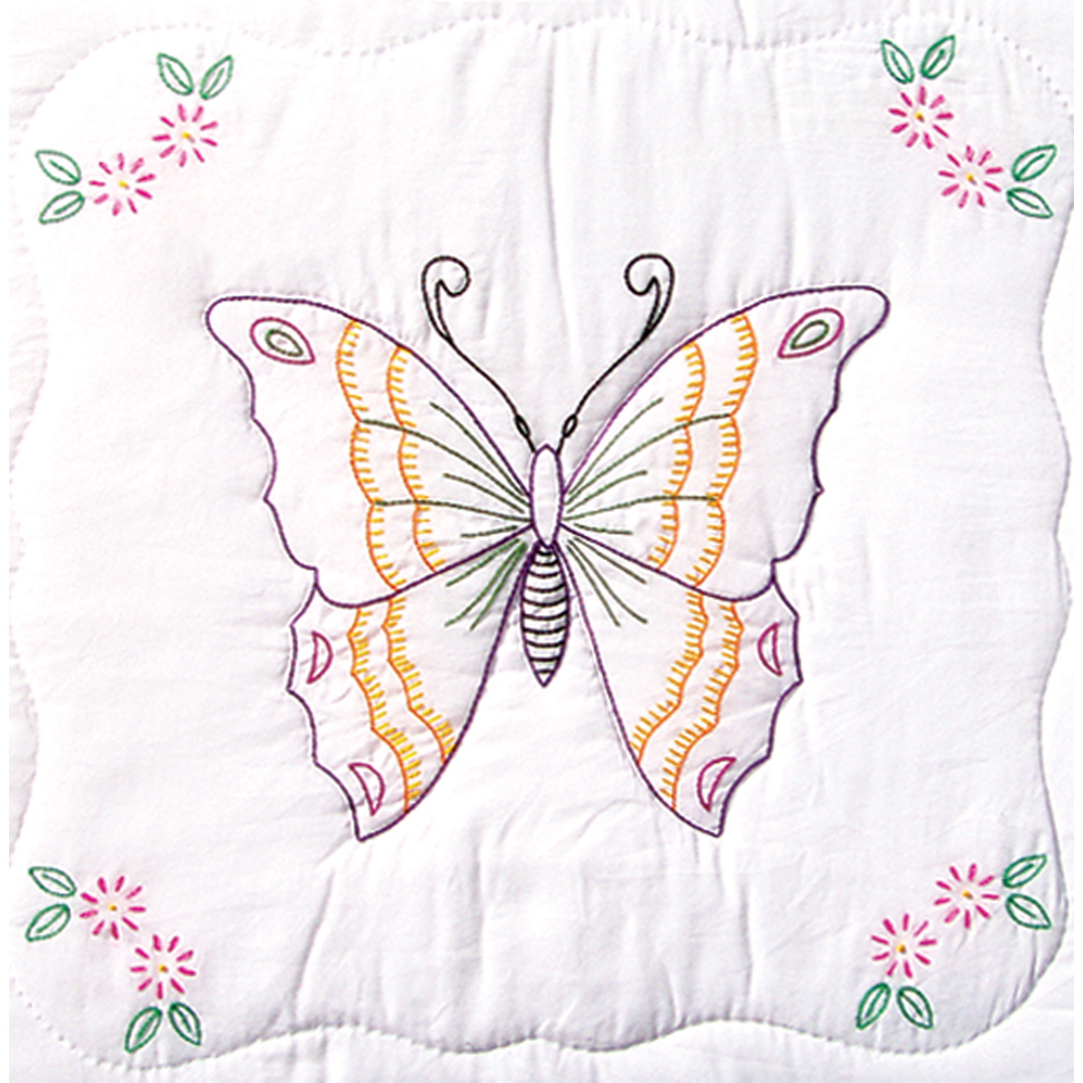 "Stamped White Quilt Blocks 18""X18"" 6/Pkg-Butterfly"