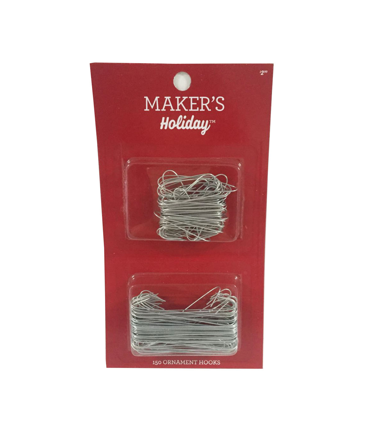 Maker\u0027s Holiday Christmas 150 Pack Ornament Hooks-Silver