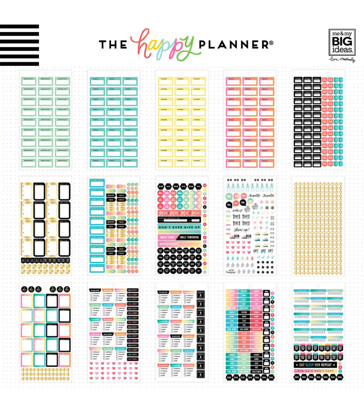 The Happy Planner Mini Value Pack Stickers-Work it Out