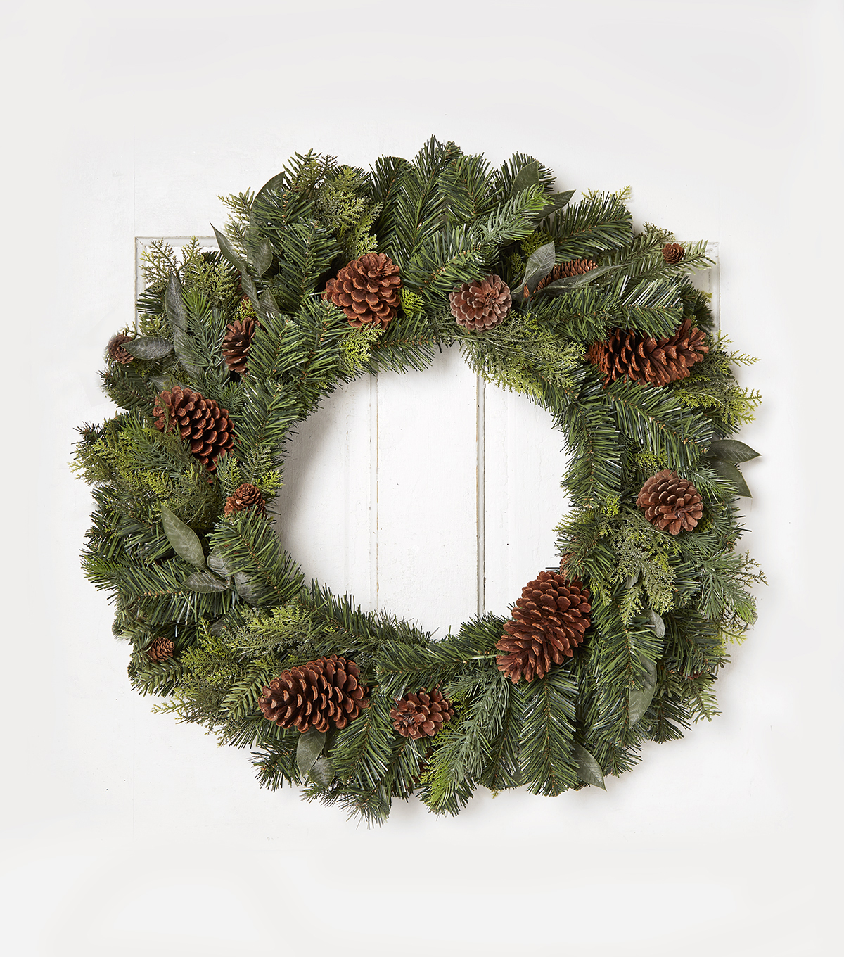 Blooming Holiday 30'' Mixed Greenery & Pinecone Wreath