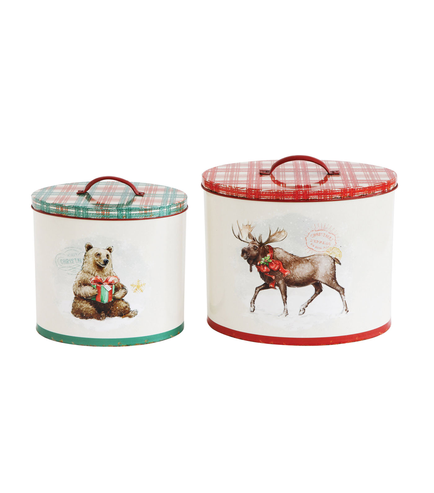 3R Studios Christmas 2 pk Decorative Tin Containers with Animal Images