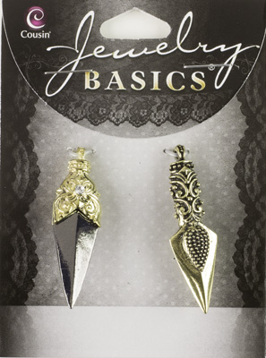 2 Piece Metal Gold/Gunmetal Arrow Charms
