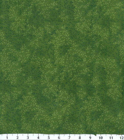 Keepsake Calico™ Cotton Fabric 44\u0022-Dark Green Viney Tonal Leaf