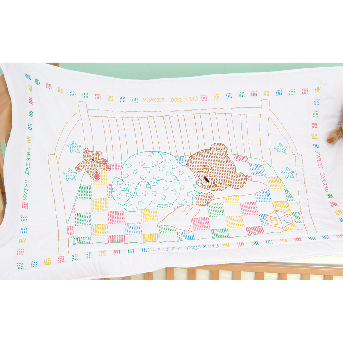 Jack Dempsey Stamped White Quilt Crib Top Snuggly Teddy