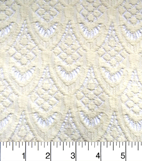 Apparel Knit Fabric-Stretch Lace Ivory