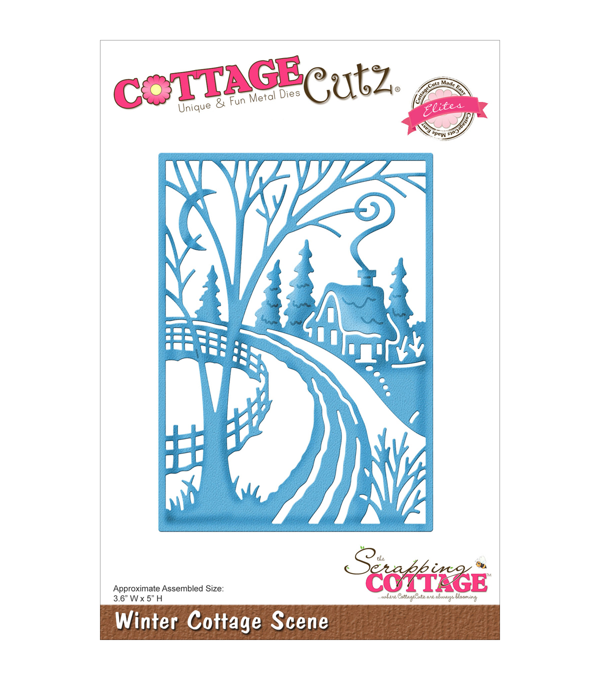 CottageCutz Elites Die -Winter Cottage Scene 3.6\u0022X5\u0022