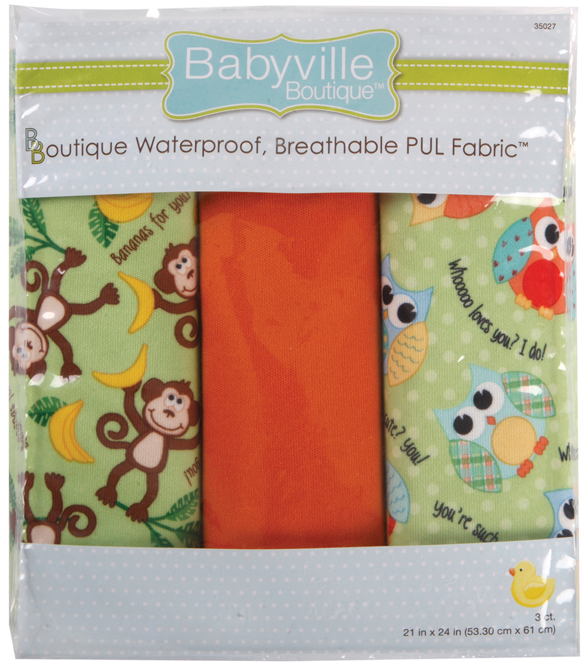 Babyville Waterproof Diaper Fabric Monkey & Hoot-3/Pkg
