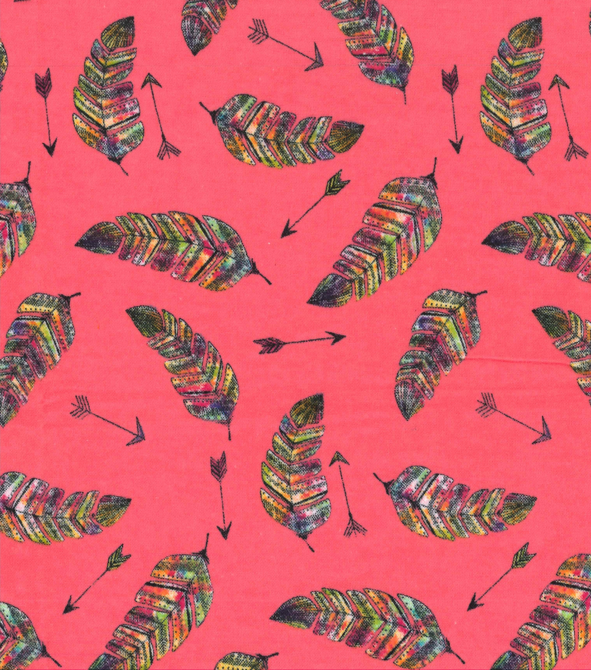Snuggle Flannel Print Fabric 42''-Rainbow Feathered Arrows