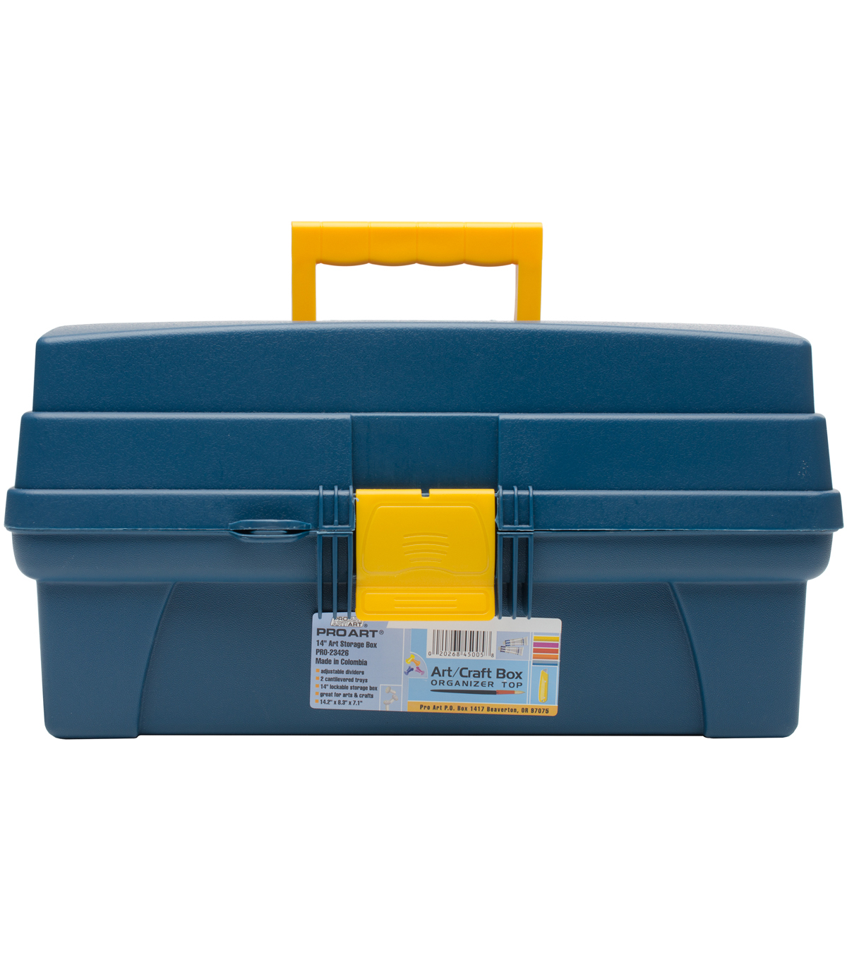 Pro Art Storage Box with 2 Inner Trays-Blue & Yellow