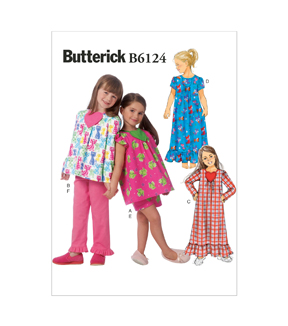 Butterick Pattern B6124-Cl0-Children\u0027S/Girls\u0027 Top, Gown, Shorts And Pants-6-7-8