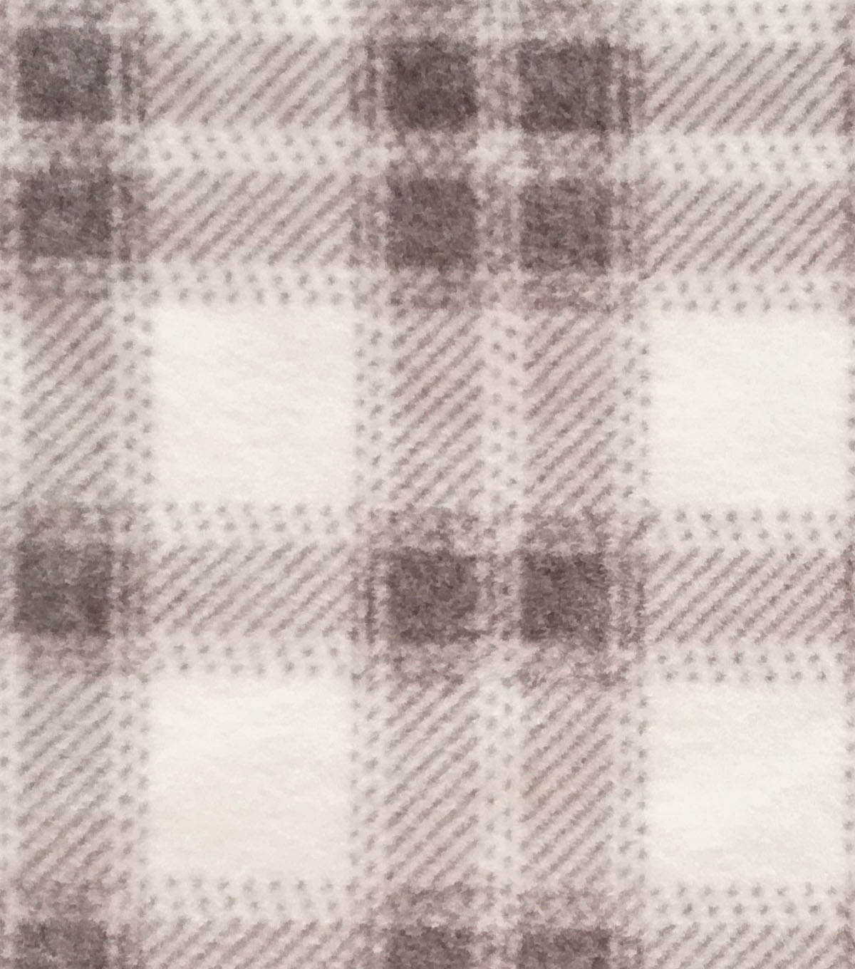 Luxe Fleece Fabric 59\u0022-White & Gray Plaid