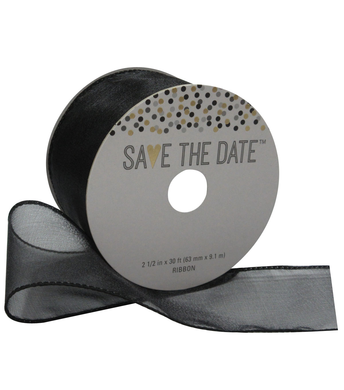 Save the Date 2.5\u0027\u0027 X 30\u0027 Ribbon-Black Sheer