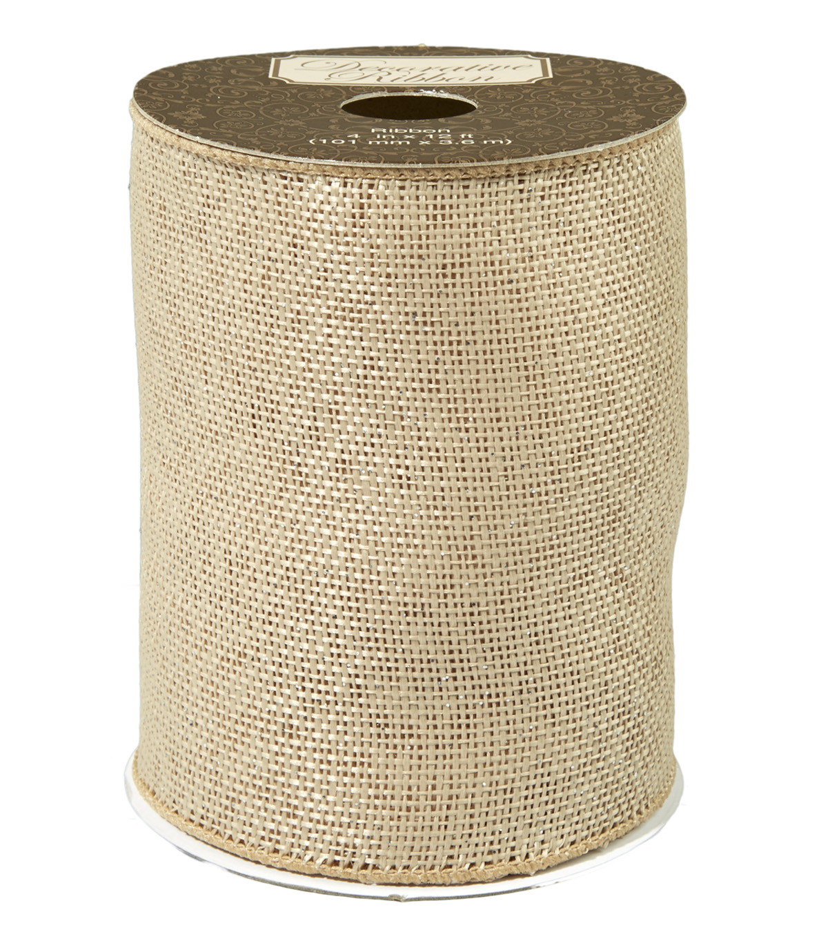 "Decorative Ribbon 4"" Natural Burlap Ribbon-Gold Metallic Overlay"