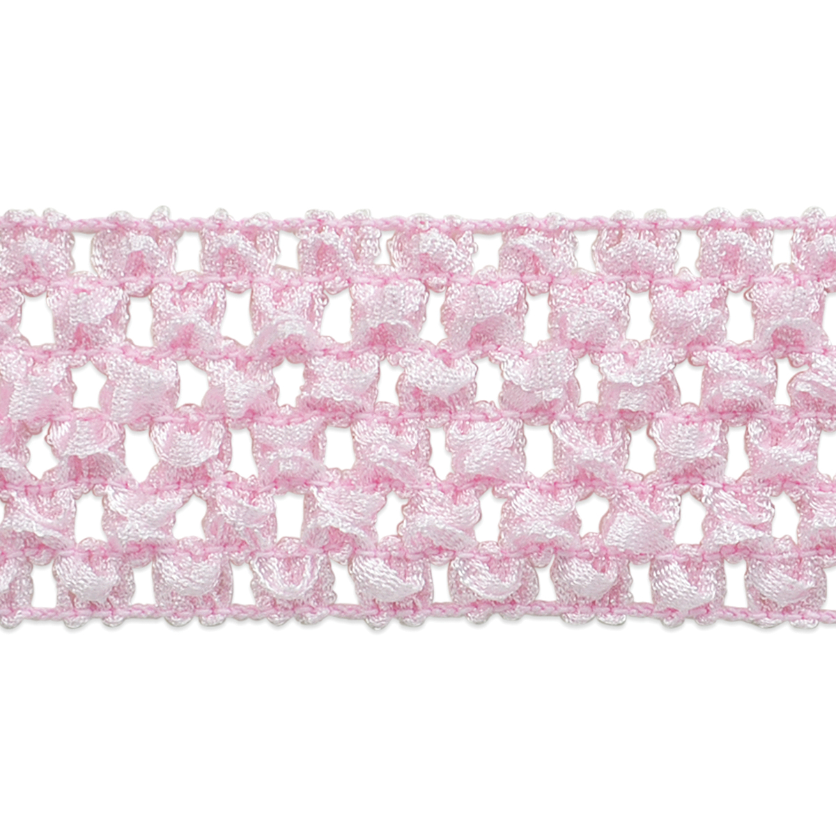 Crochet Headband Stretch Trim 1-3/4\u0022 Wide 20 Yards-Pink
