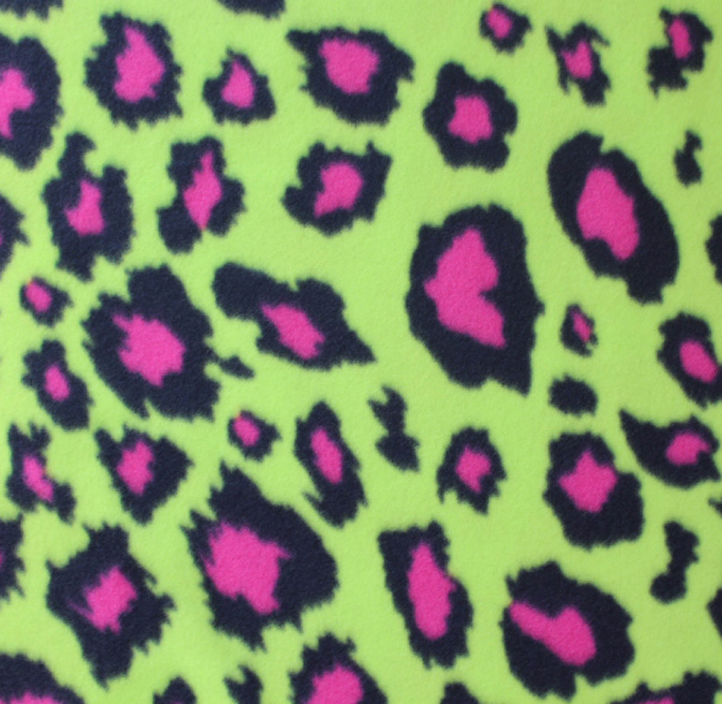Blizzard Fleece Fabric-Lime & Pink Cheetah