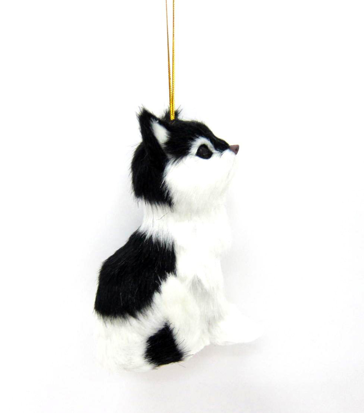 Maker's Holiday Furry Black and White Cat Ornament