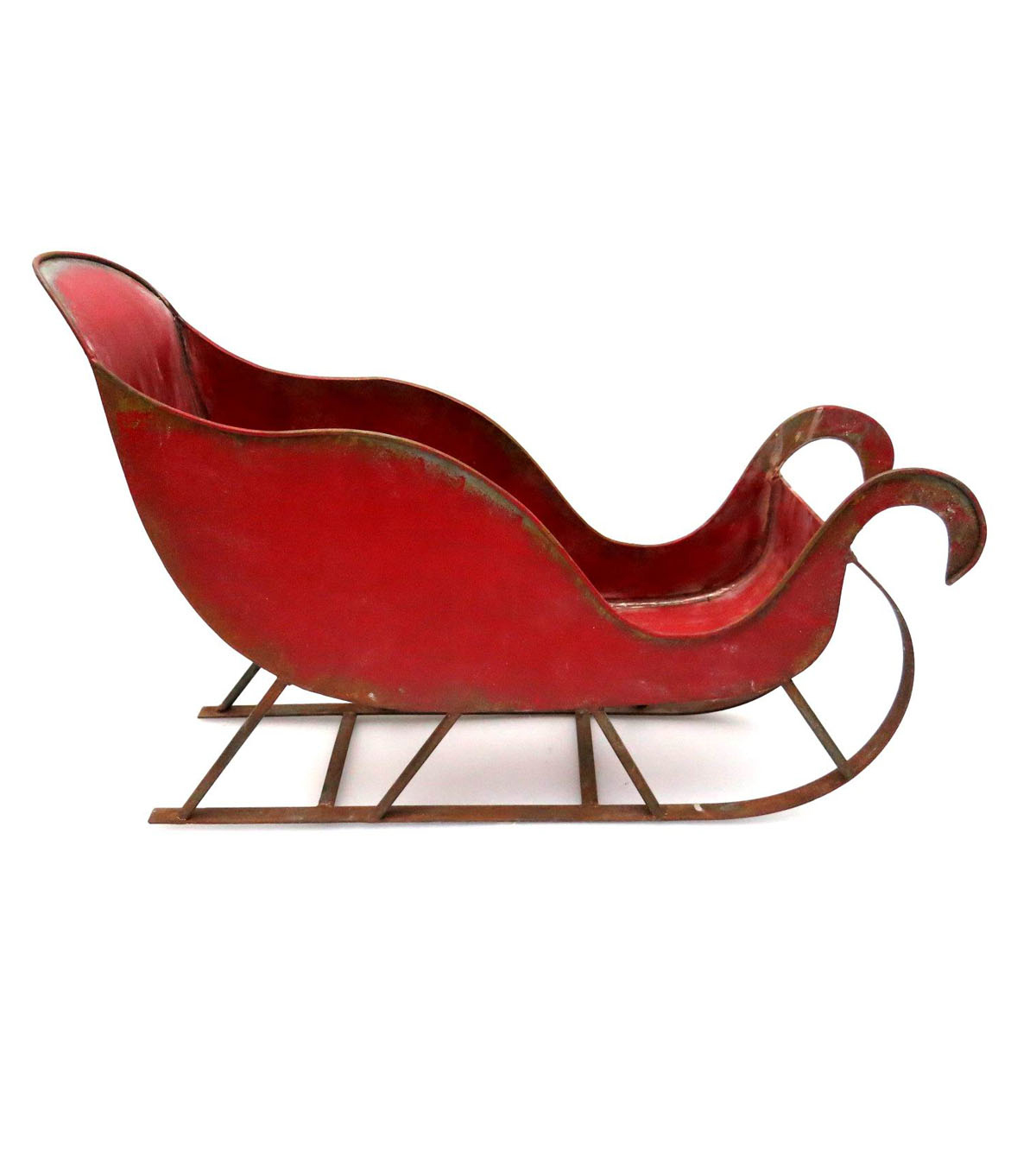 Maker\u0027s Holiday Tin Sleigh Decor-Red