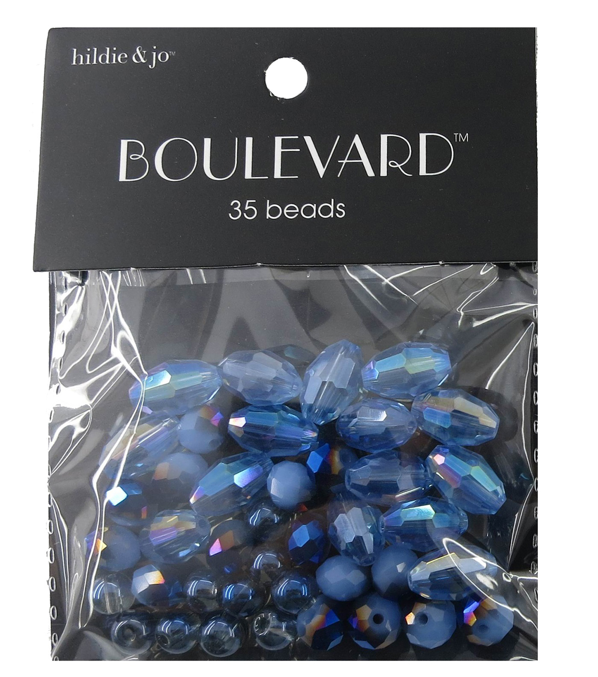 hildie & jo™ Boulevard 35 Pack Mixed Multi Sizes Glass Beads-Blue