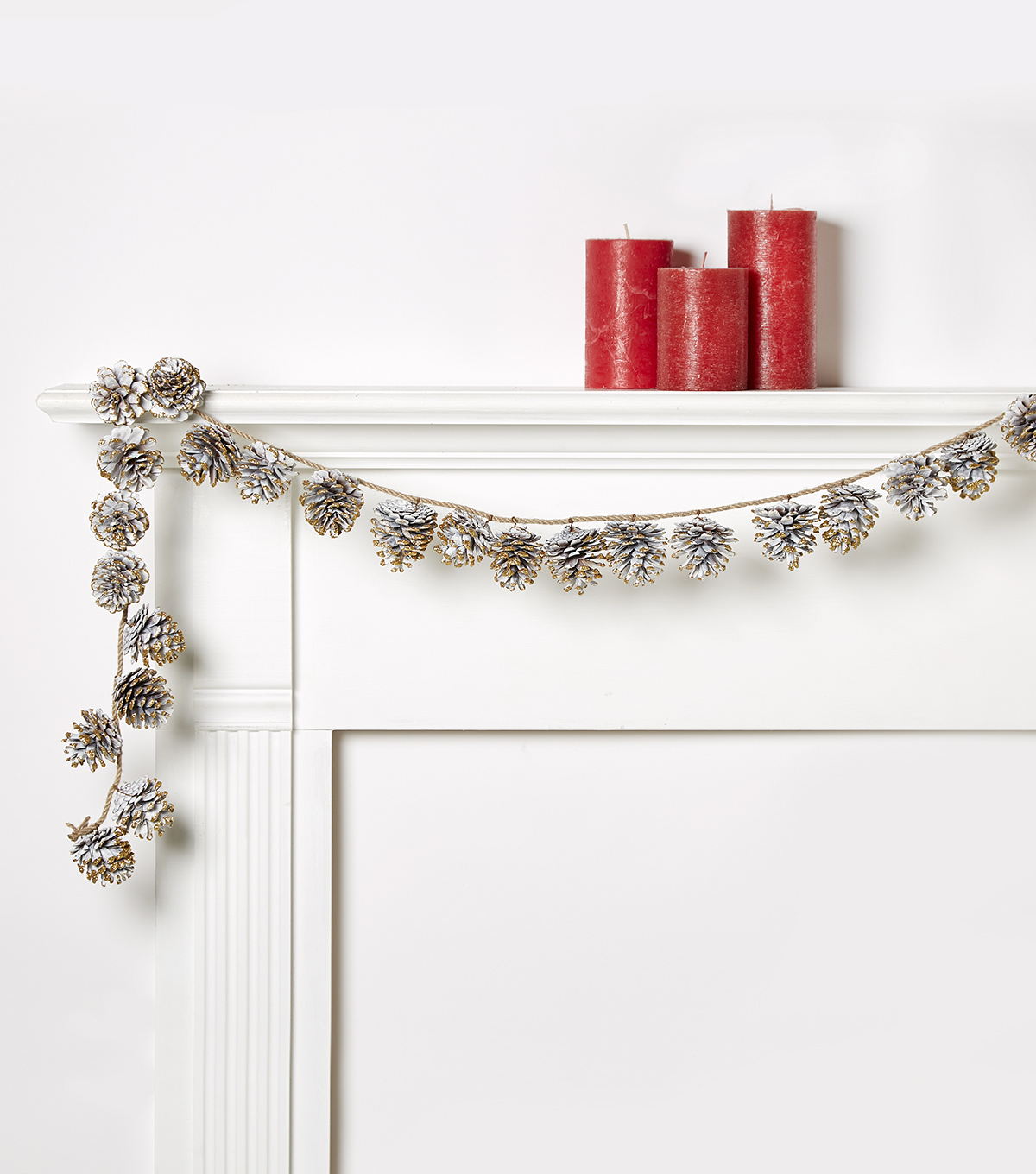 Blooming Holiday Pinecone Glitter Garland-White