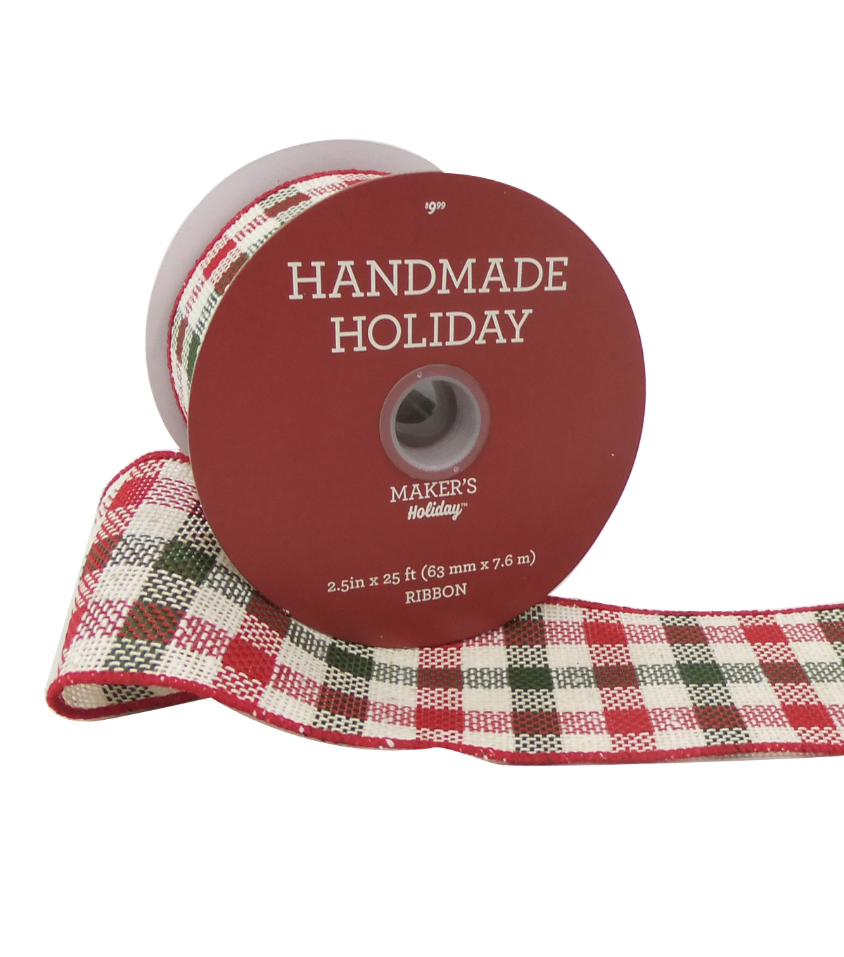 Maker's Holiday Handmade Holiday Ribbon 2.5''x25'-Red/Green, Beige Plaid