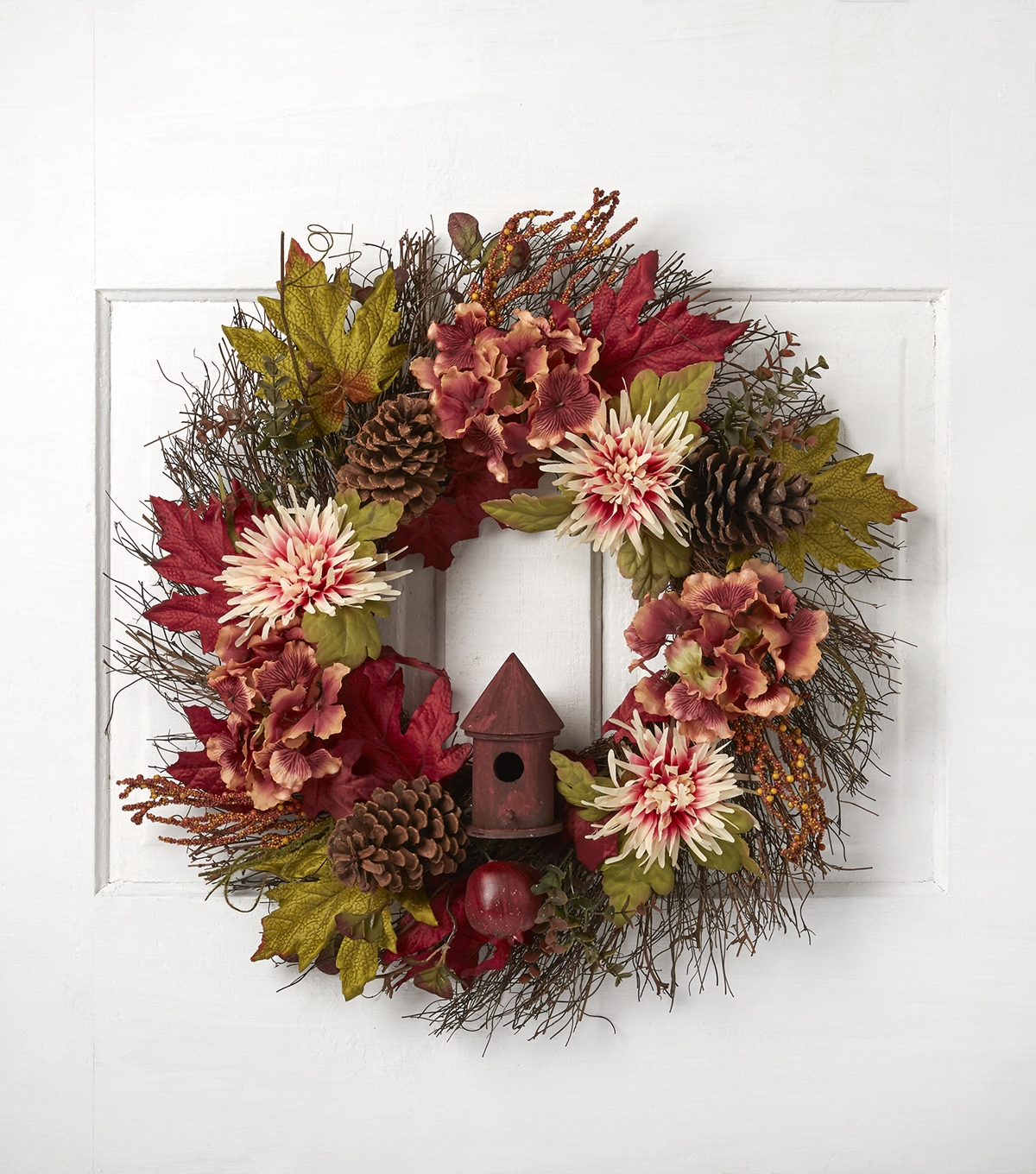 Blooming Autumn 24\u0027\u0027 Hydrangea Pinecone Birdhouse Wreath-Pink & Burgundy