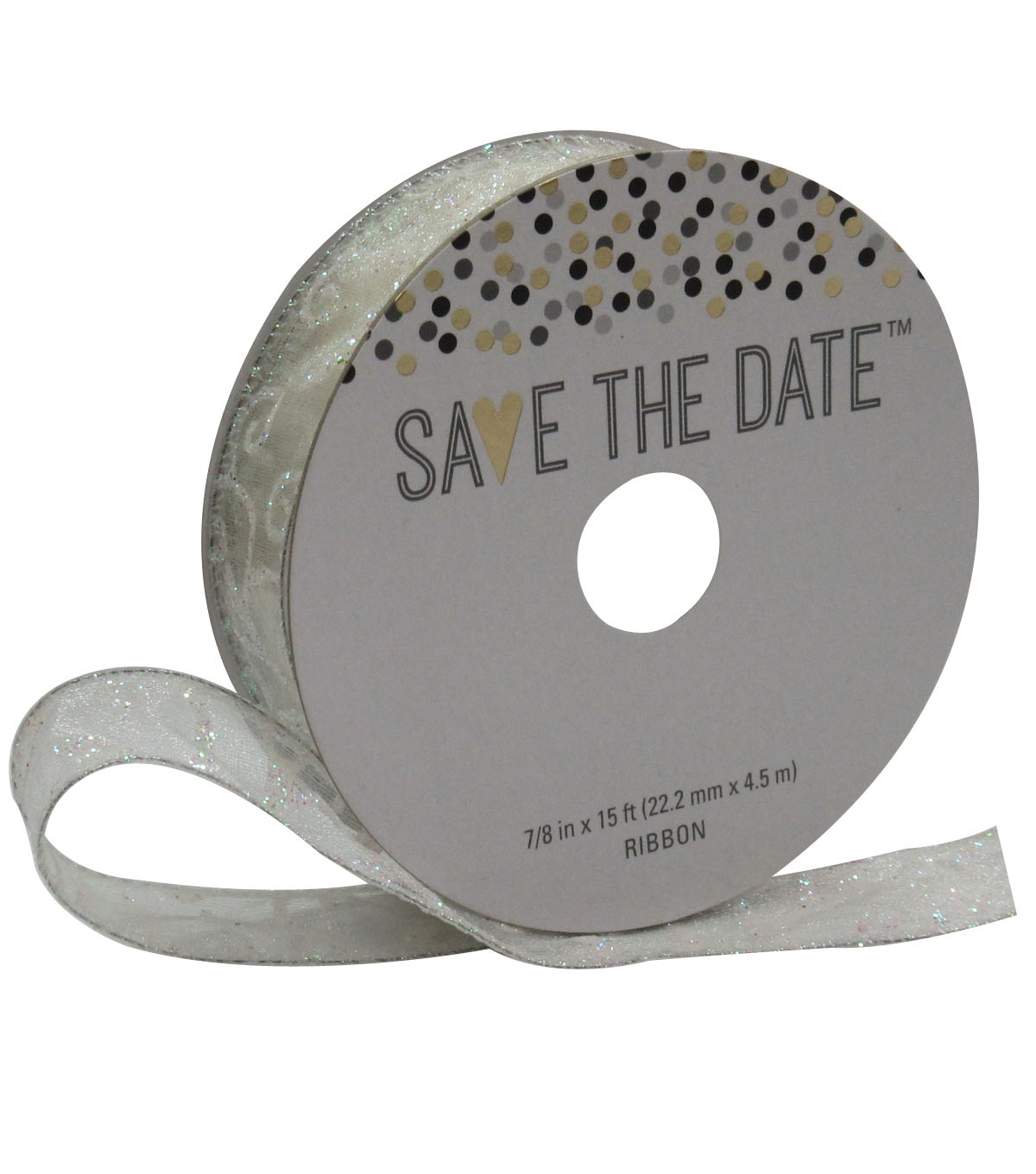 Save the Date 7/8\u0027\u0027 X 15\u0027 Ribbon-Iridescent Ivory Swirl