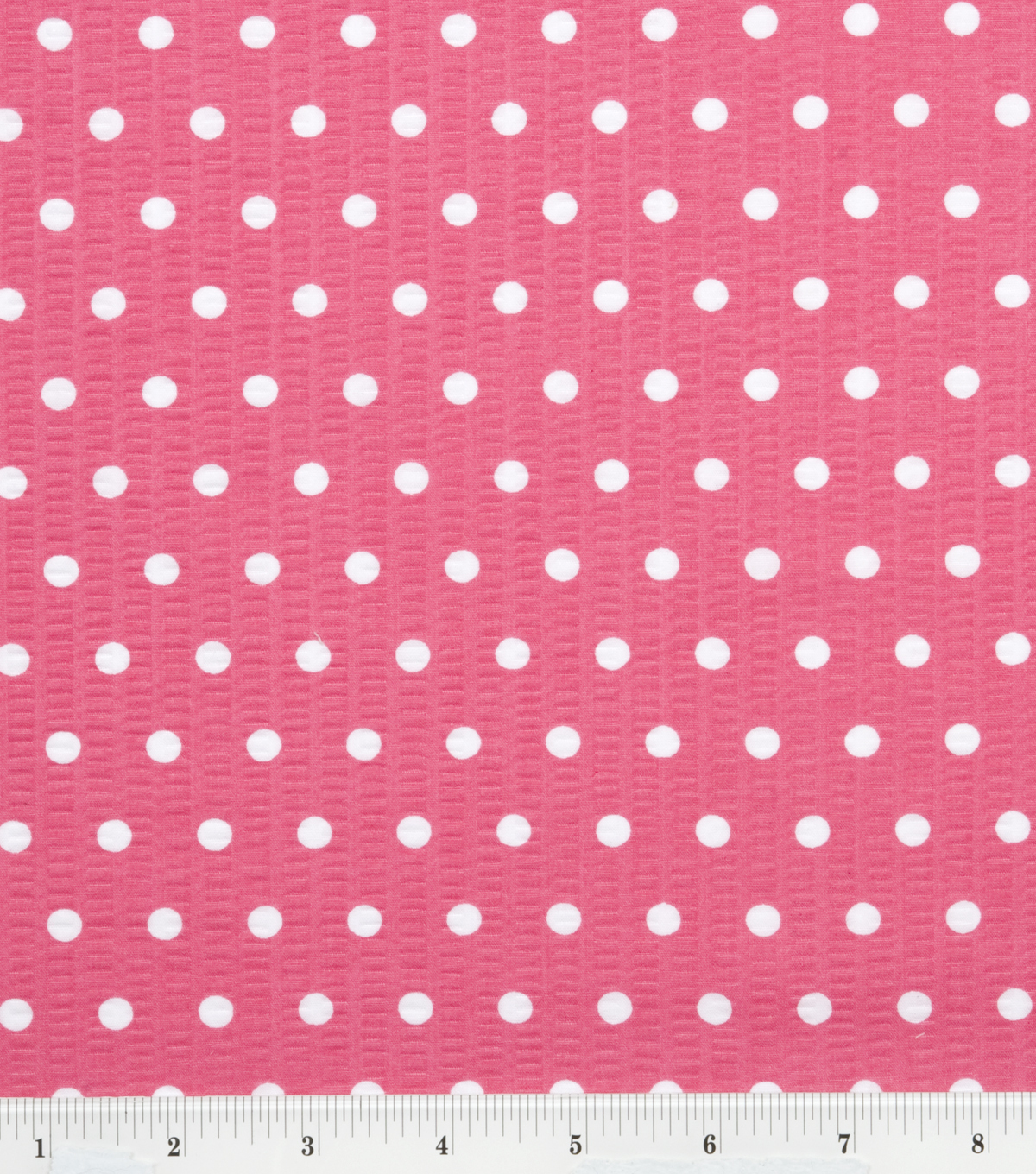 Tutti Fruitti Embossed Fabric 44\u0022-Polka Dot Fuchsia and White
