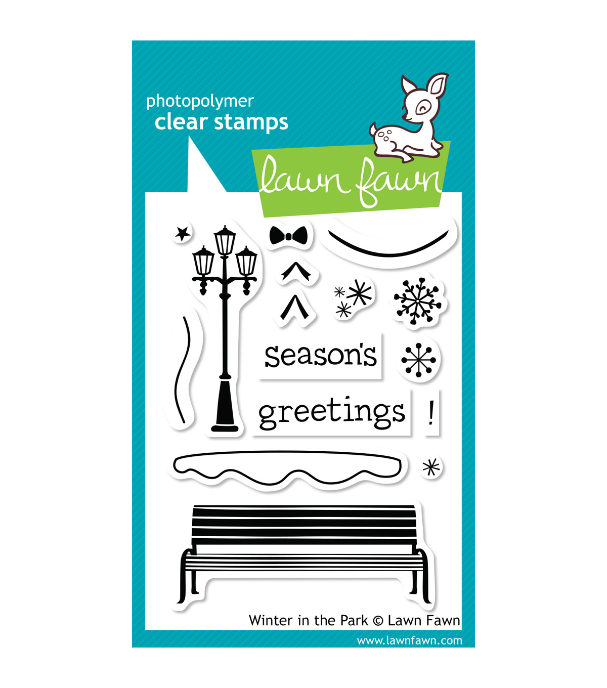 "Lawn Fawn Clear Stamps 3""X4""-Winter In The Park"