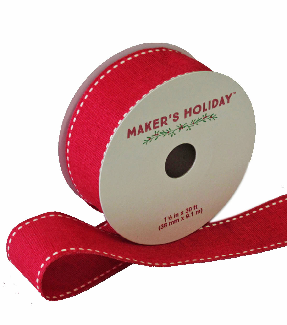 Maker's Holiday Ribbon With Knit Edge 1.5''x30'-Red