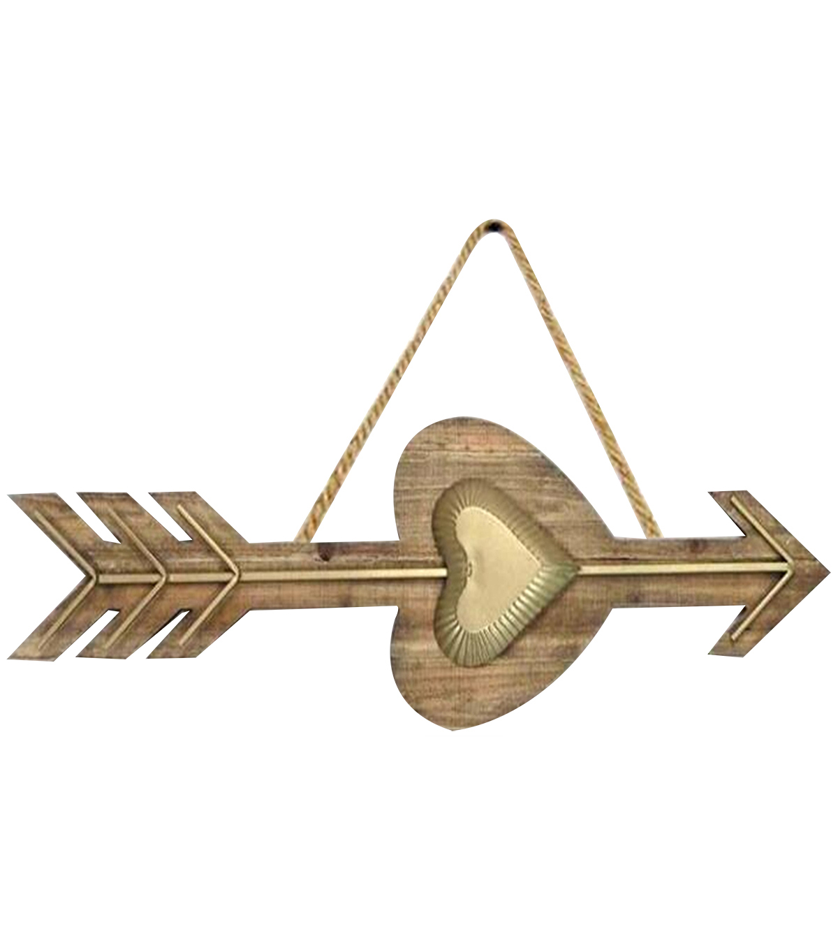Wood Heart Arrow with Rope-Gold