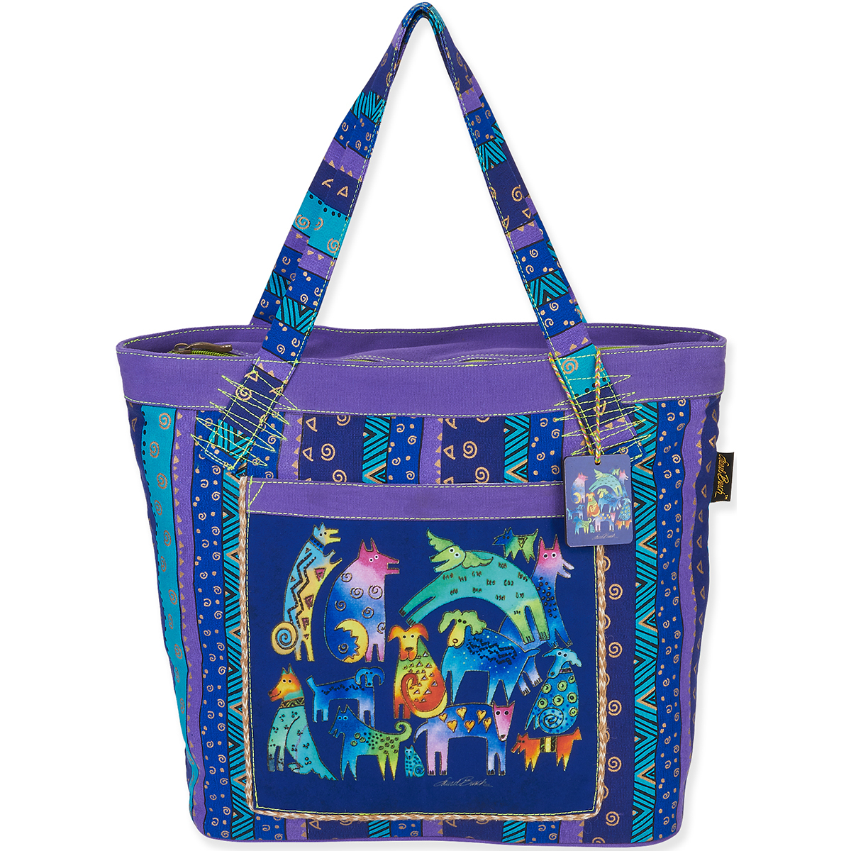 "Laurel Burch Tote- Shoulder Tote 19.5""X6""X14.5"" Mythical Dogs"