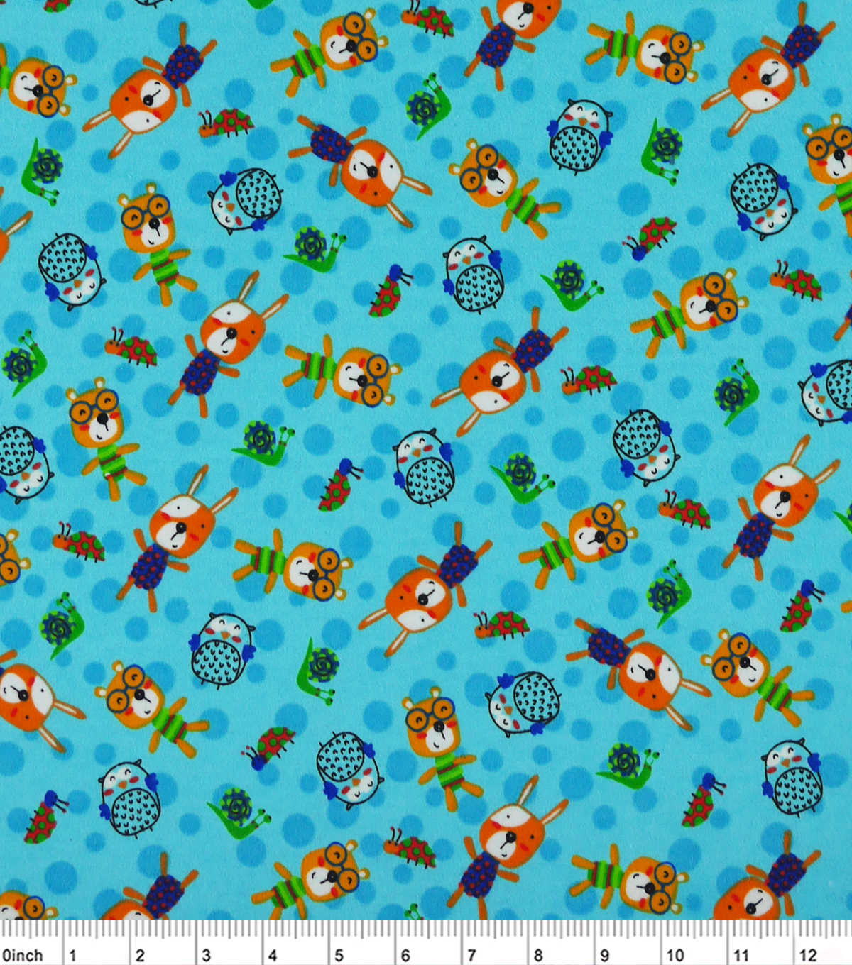 "Snuggle Flannel Fabric 42""-Print Happy Bears And Friends"
