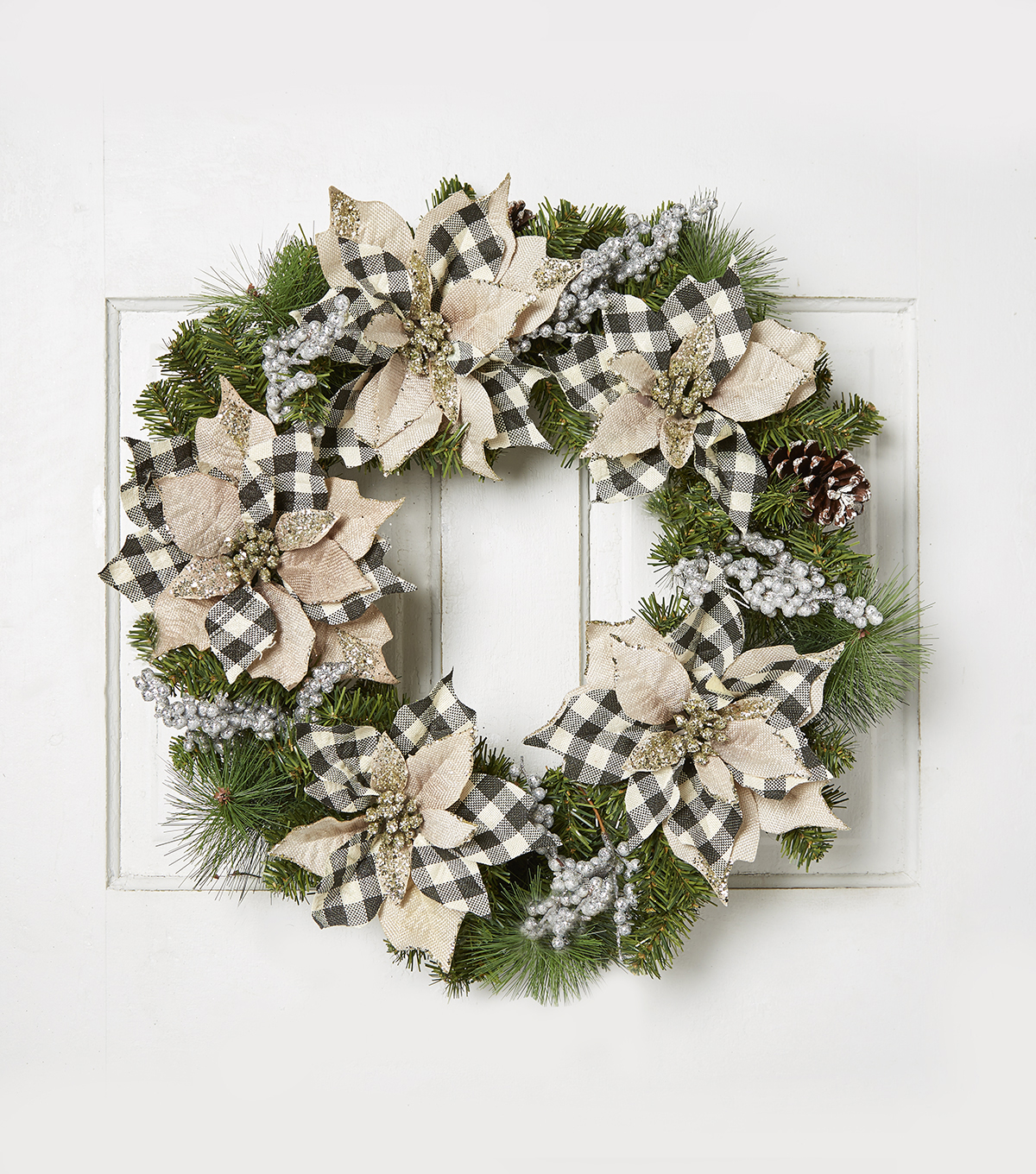 Blooming Holiday 24\u0027\u0027 Burlap Poinsettia & Berry Buffalo Wreath