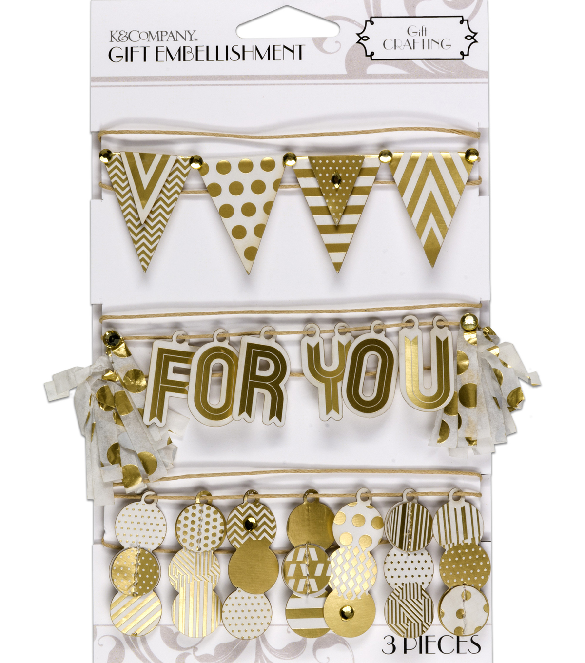 K&Company White And Gold Banner Gift Embellishment