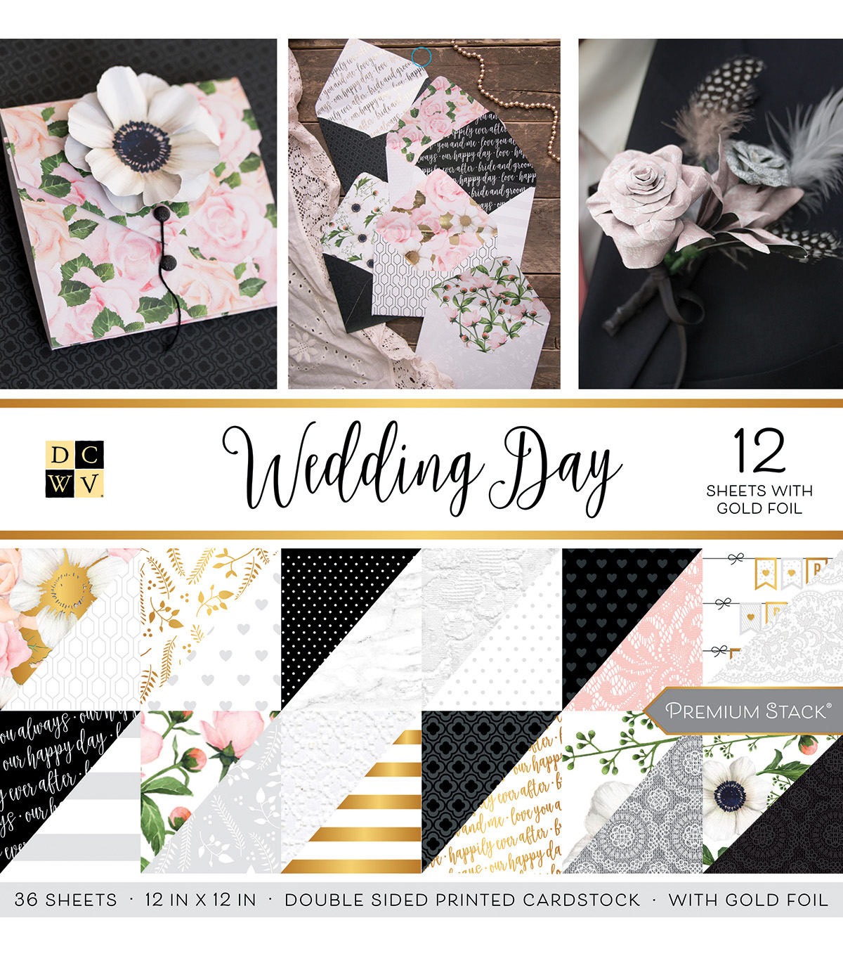DCWV 36 Pack 12''x12'' Premium Stack Printed Cardstock-Wedding Day